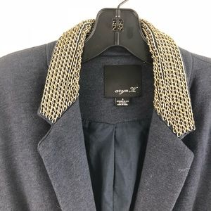 Aryn K Navy Blazer with Chain Detail